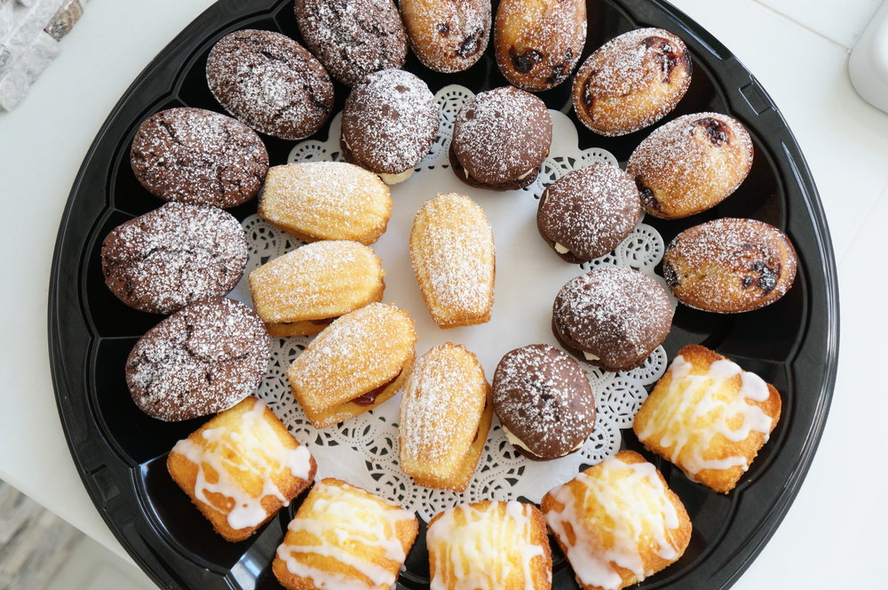 Gluten Free Party Assortment - Includes Raspberry/Lime and Chocolate Friands, Madeleines with Mascarpone/Rasp Filling, Mini Chocolate Whoopie Pies, Mini Lemon Cakes   $70 (25 pieces)