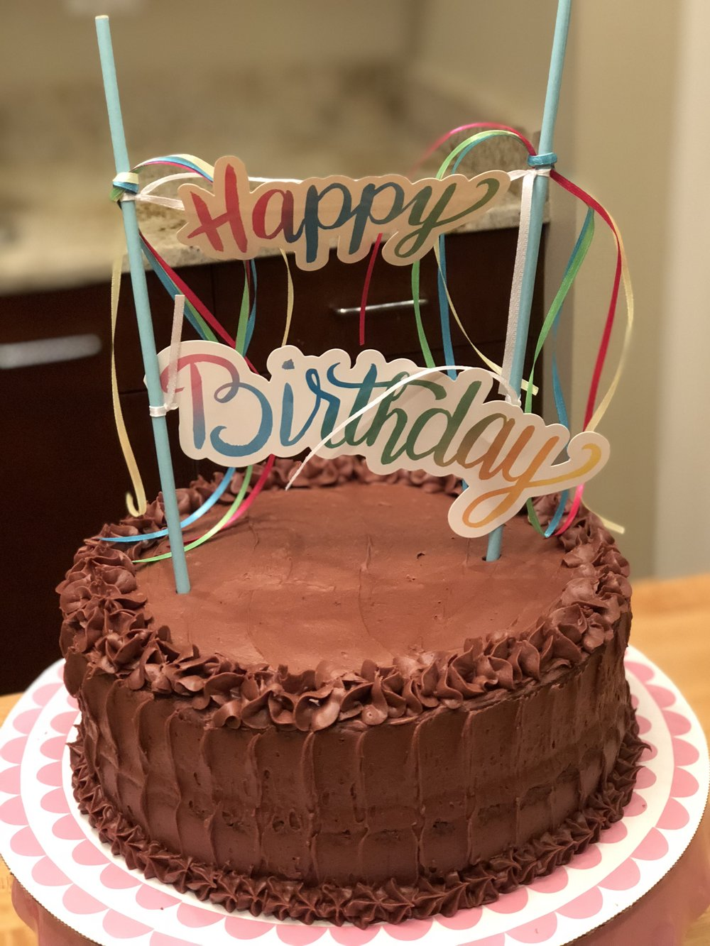 Gluten & Dairy Free White or Chocolate Occasion Cake with Vanilla or Chocolate DF Buttercream Frosting  $65 Two-Layer 8 inch Round