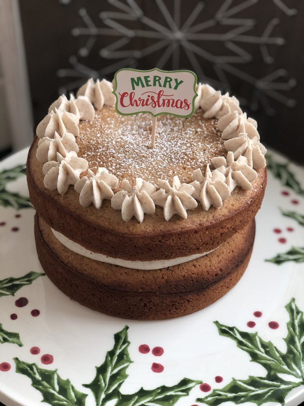 "Seasonal Gluten & Dairy Free Subtle Spice Friand cake with DF Cinnamon Butter Cream Frosting  $33 Two Layer 6"" round"