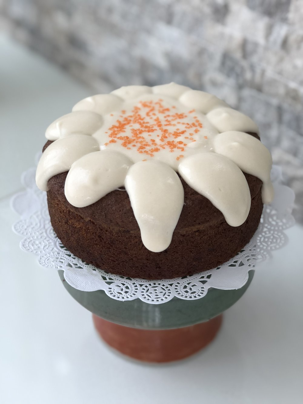 Gluten, Dairy & Soy Free Carrot Cake with DF Cream Cheese Frosting  $25 One Layer 6' round