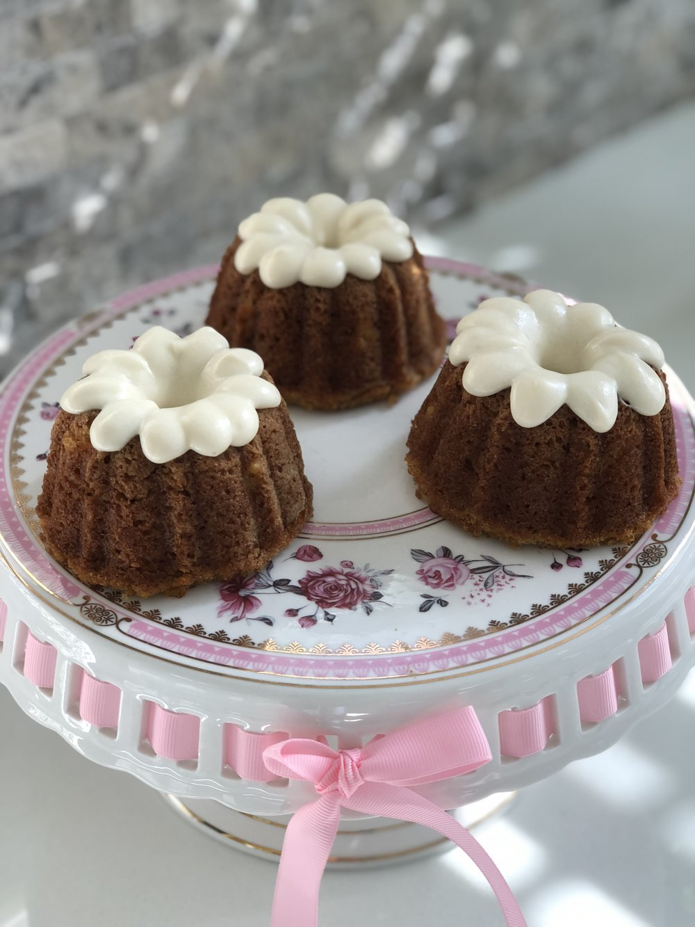 Gluten, Dairy & Soy Free Mini Bundt Cakes with DF Cream Cheese Frosting  $18 per three