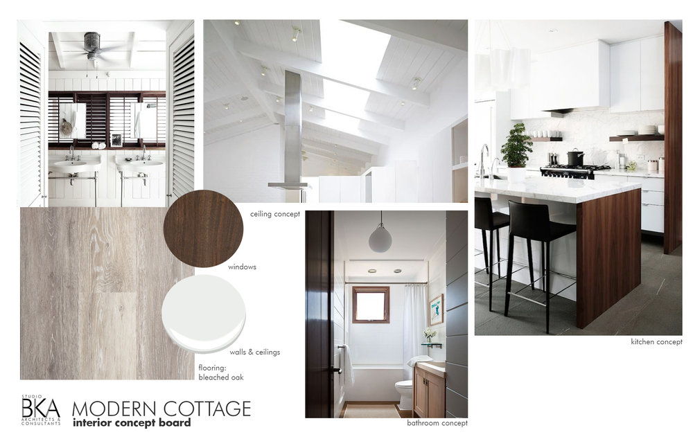 In creating this concept board, I noticed that white walls and warm woods were the common thread in the concept imagery selected by the owner. Tongue and groove ceiling boards and shutters add texture to the otherwise minimalist space. Imagery can be found on pinterest, houzz and google image search.