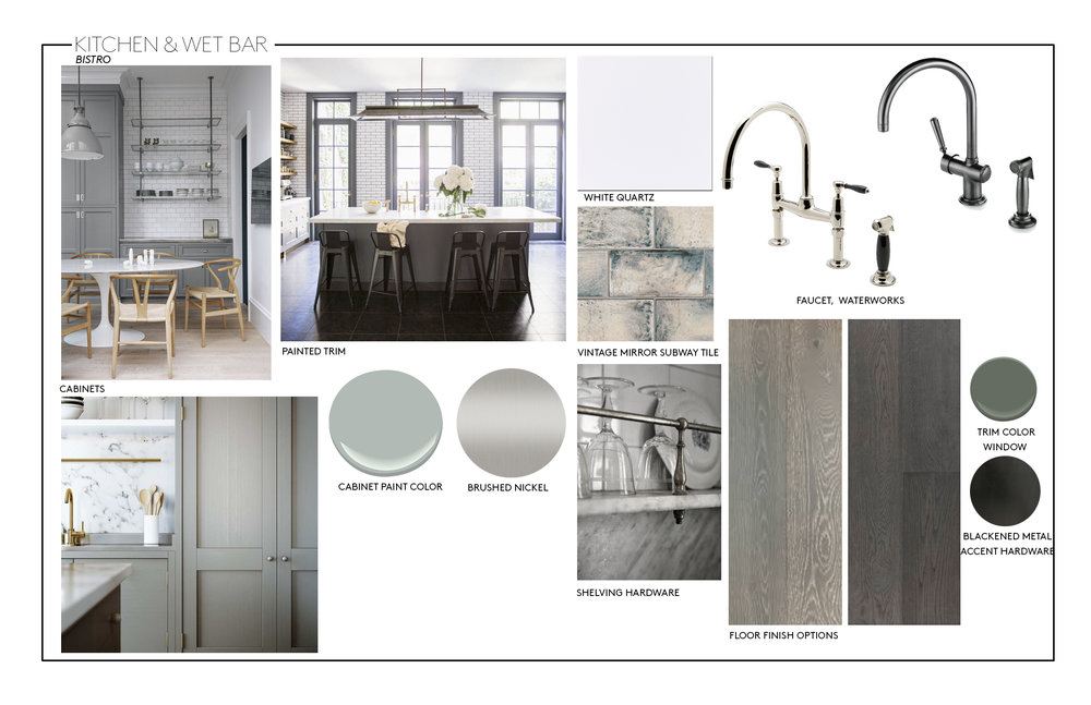 I created a bistro kitchen concept board for this kitchen renovation using high contrasting tones and use of marble and subway tile.