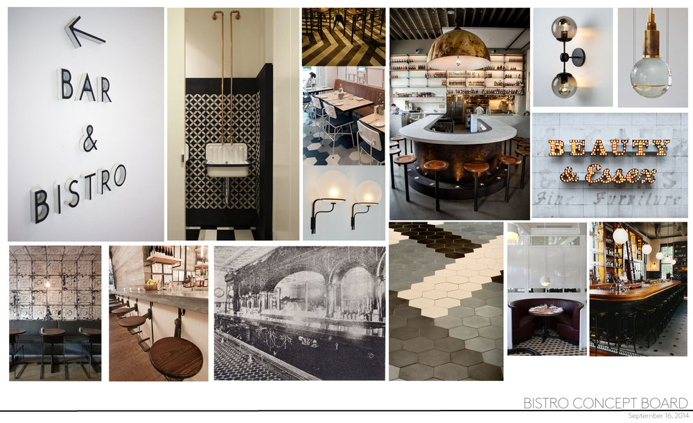 This restaurant concept board aims to create a modern bistro feel with black and white tile and warm wood and brass accents.