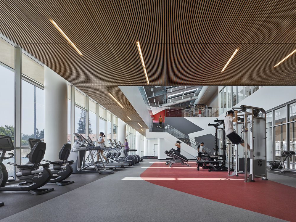 Fitness center from ground level