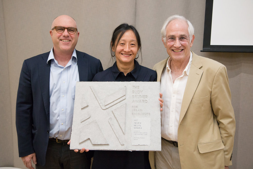 John Friedman, Alice Kimm, and Simeon Bruner, Founder of the Rudy Bruner Award for Urban Excellence