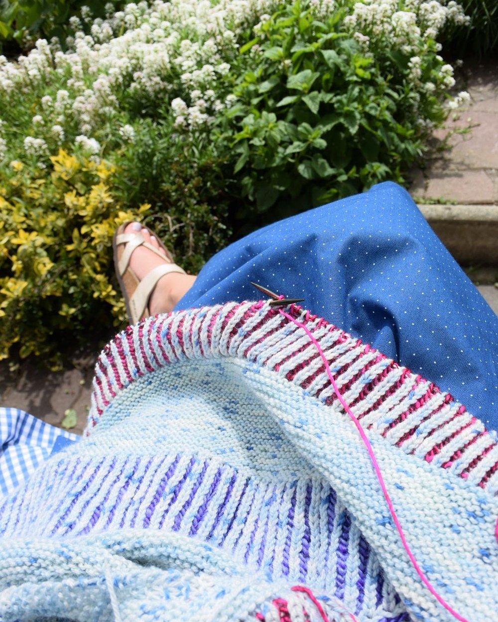 Working on my Briochealicious shawl in my Great Great Aunt Hermine's garden - one of my favorite memories of 2016!