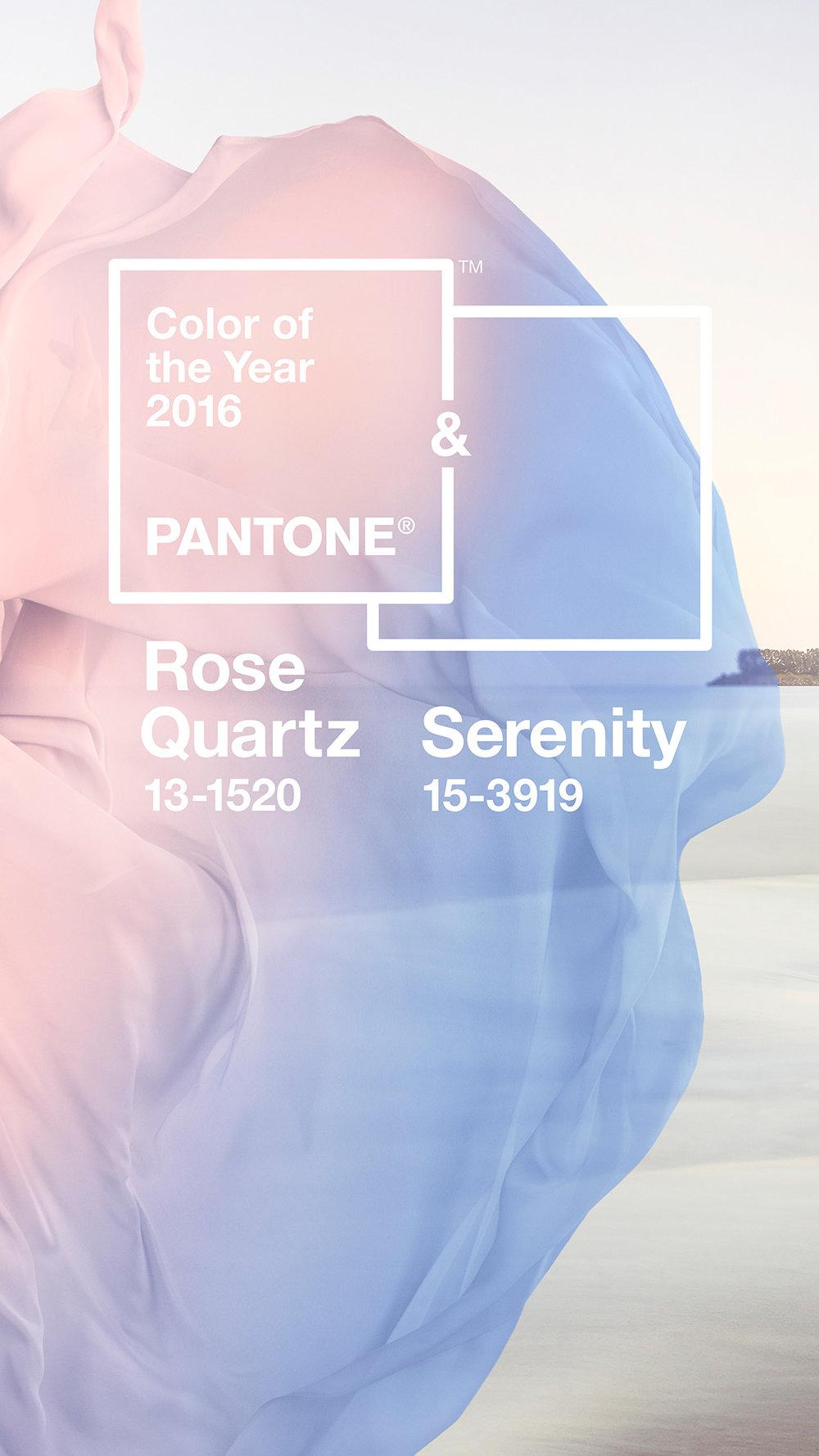 The Pantone Colors of the Year 2016: Rose Quartz & Serenity.