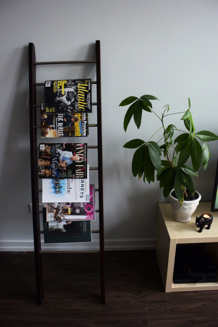 This magazine rack was gifted from my parents & features a vibrant assortment of Grayson & I's favorite magazines. I placed the money tree I've nurtured for 2 years on the TV stand (next to the most adorable bear tea light holder I picked up from CB2 - I'm obsessed with it!) to give a splash of color.