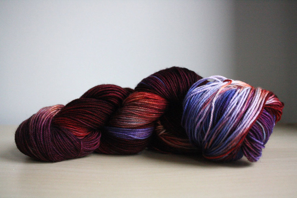 Three Irish Girls' Adorn Luxe base (85% merino, 15% nylon) in the colorway Buckingham, which you can purchase here.