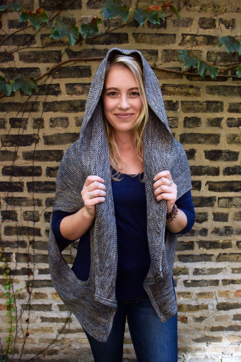 The Rachel Wrap, worn with the hood up