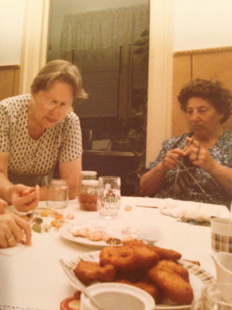 Grossma (left) & Hermine (right) surrounded by food & knitting. Definitely my family.