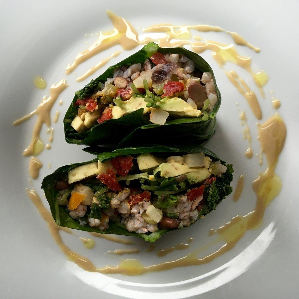 veggie stuffed collard wraps with tahini/lemon sauce