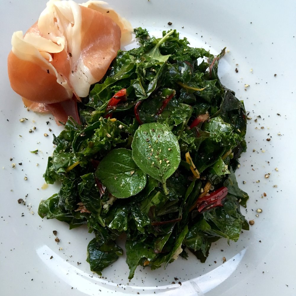 kale + rainbow chard salad with anchovy/oregano vinaigrette
