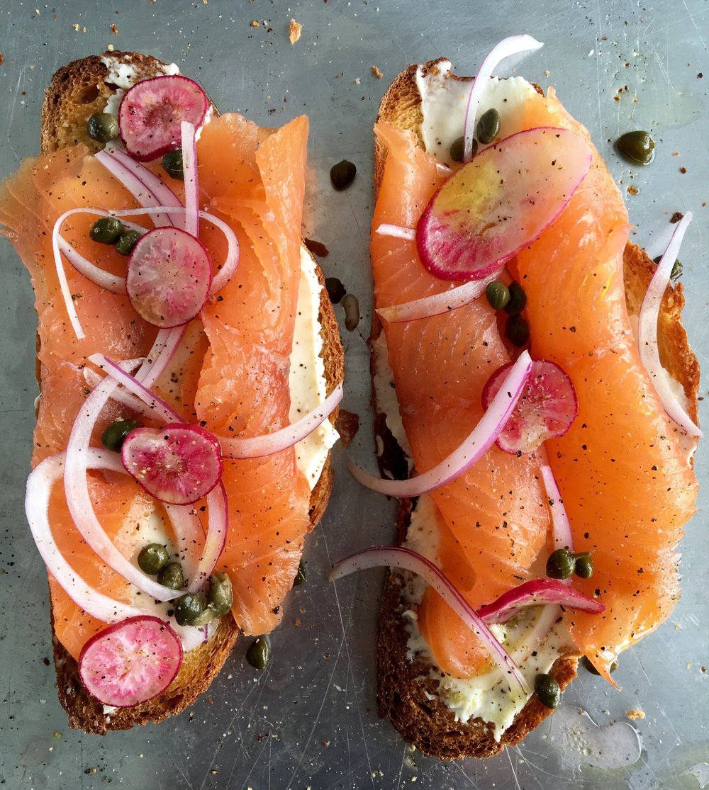 smoked salmon toast with mascarpone, capers