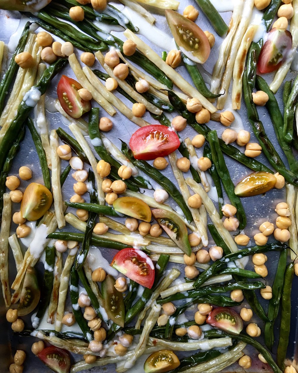 roasted string bean salad with mini heirlooms + chickpeas with yogurt lemon dressing