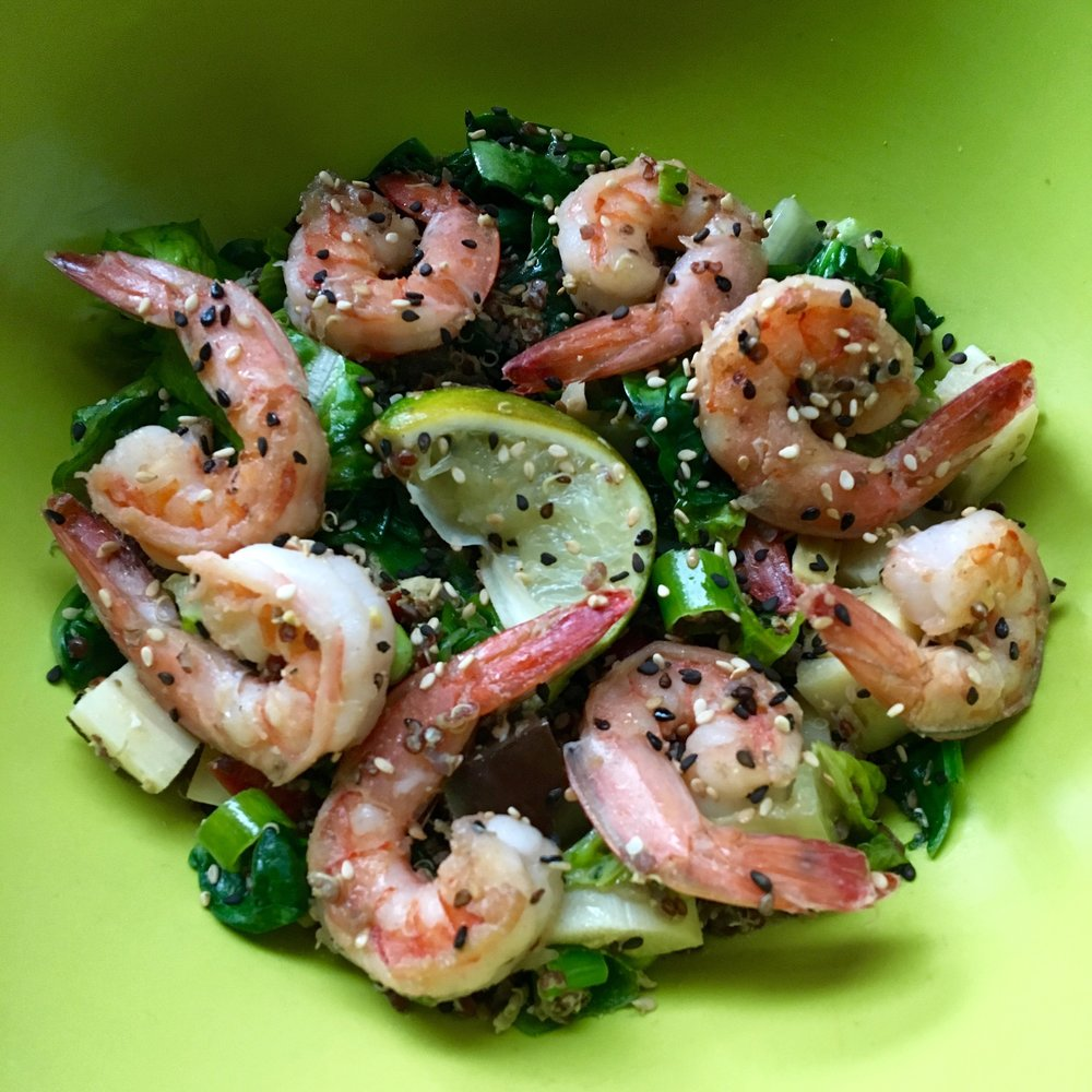 shrimp bowl with wilted spinach + scallions