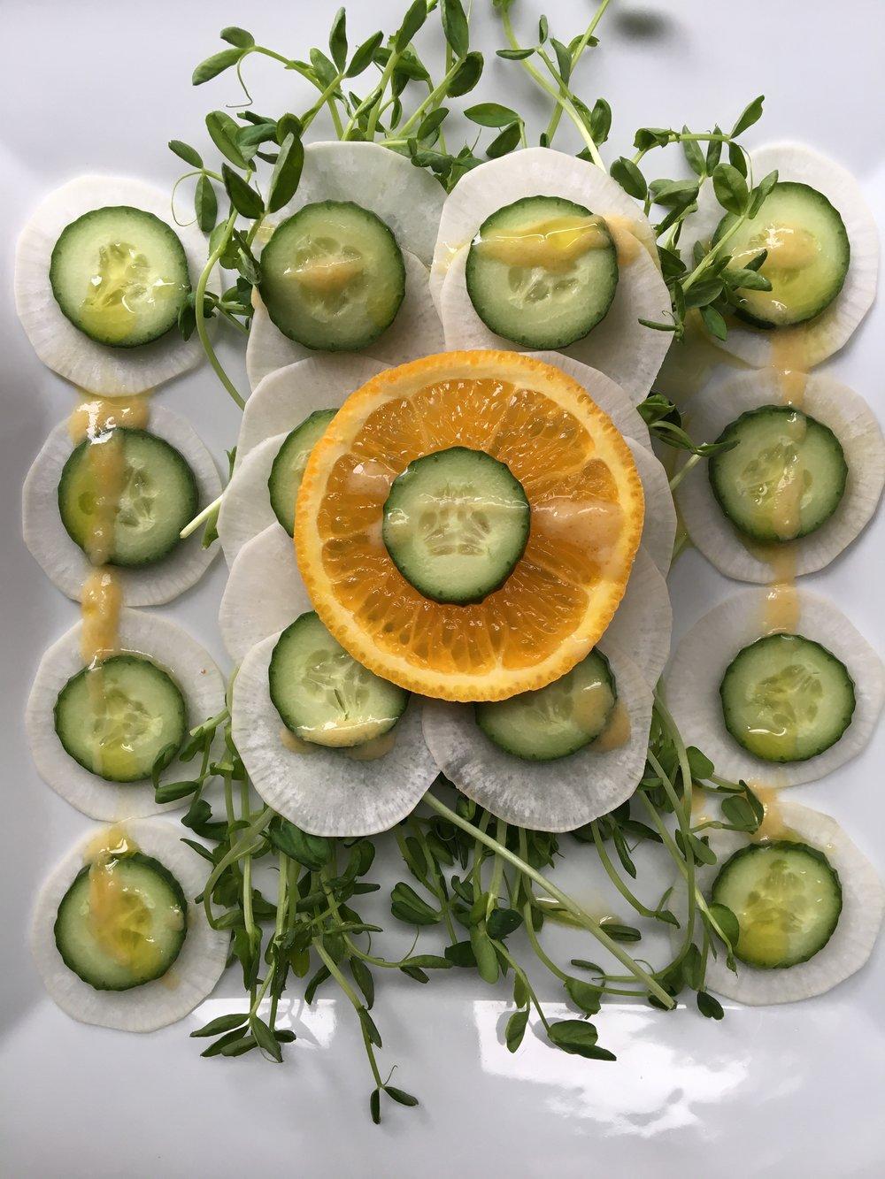daikon cucumber + citrus salad