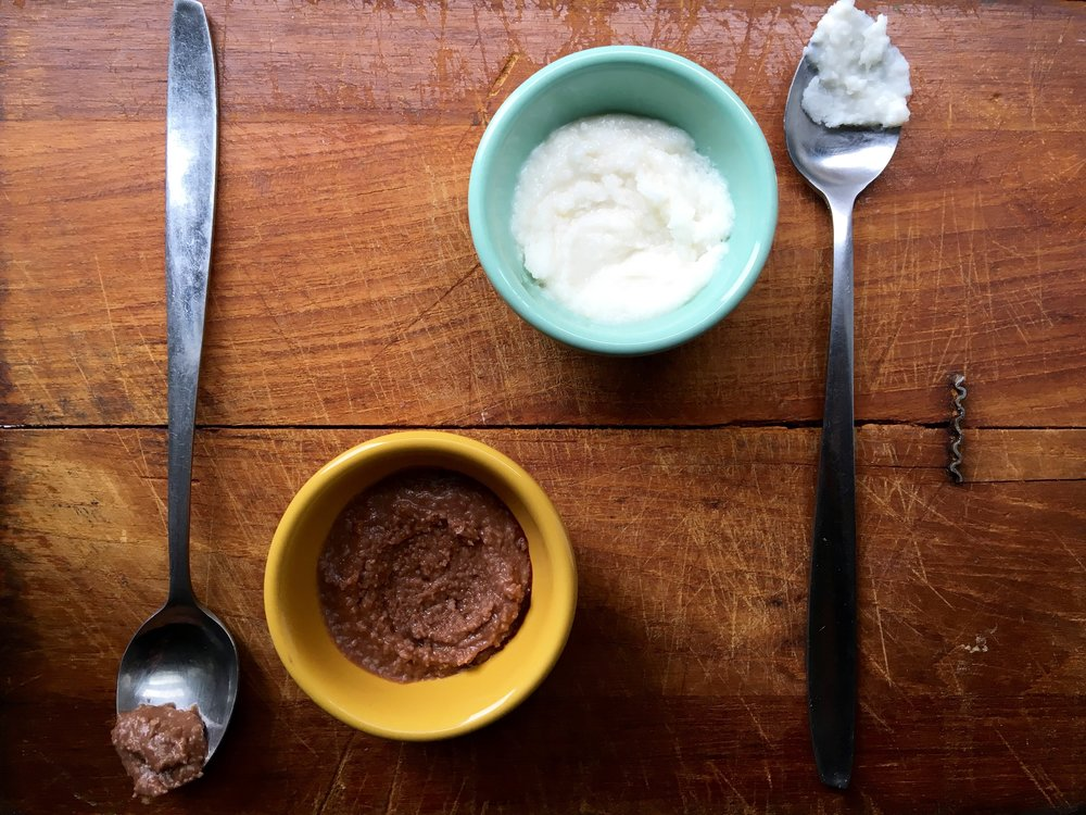 coconut butter tasting, chocolate + original