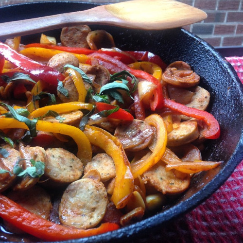 chicken sausage + Peppers