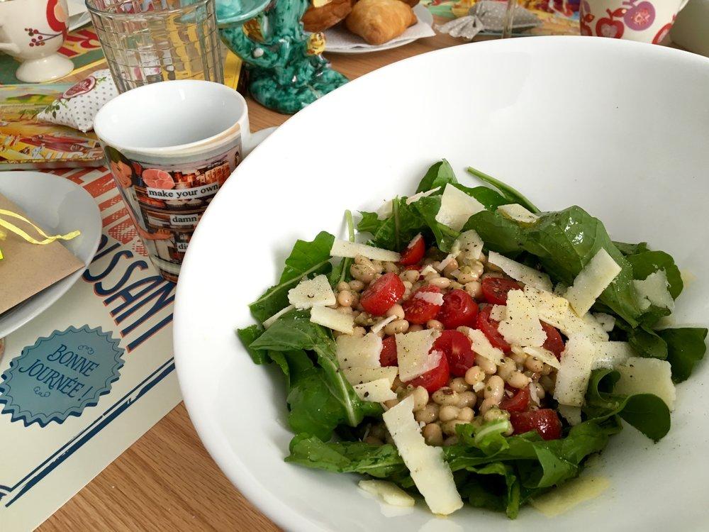 White Bean Arugula Tomato + Pesto Salad