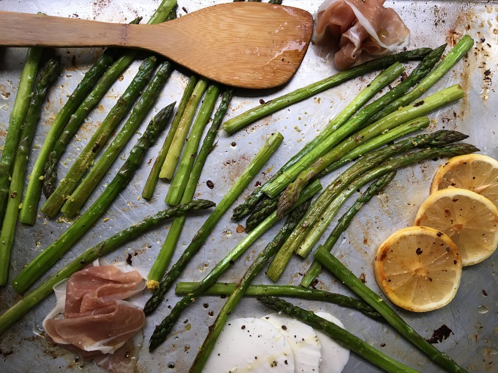 Roasted Asparagus / Lemon / Mozzarella + Prosciutto Purses