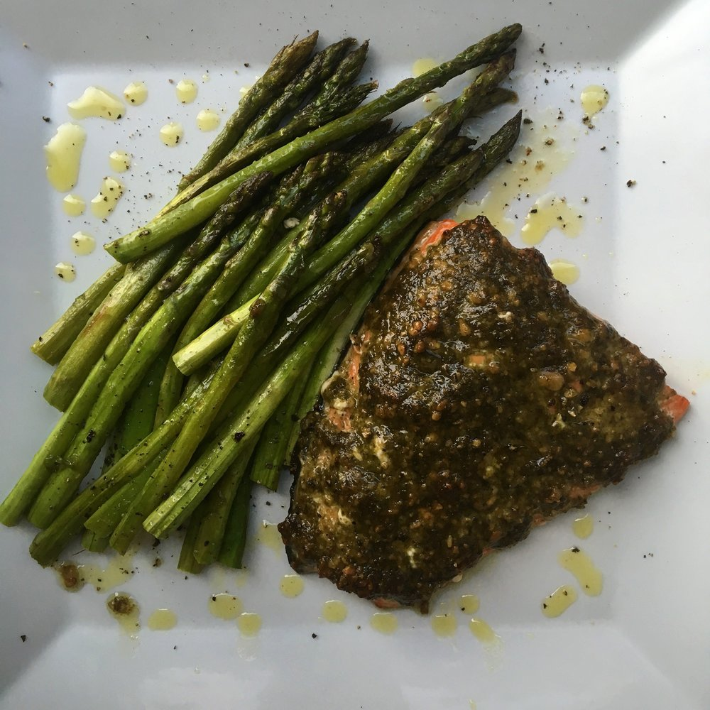 Pesto Baked Salmon / Roasted Asparagus