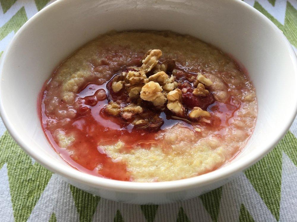 Quinoa Porridge with Strawberry Compote / Maple Syrup / Walnuts