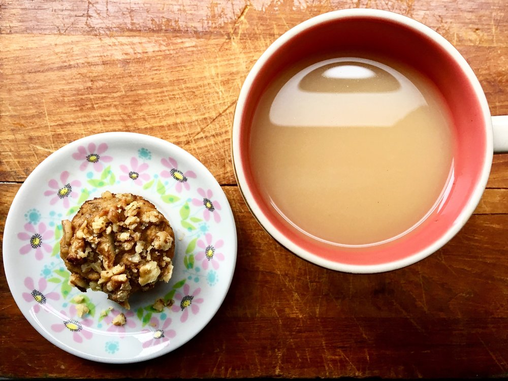 Setting the Mood for Breakfast: Tea + Grain Free Banana Nut Muffin