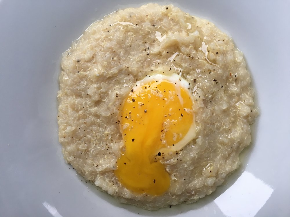 Egg in a quinoa grit hole