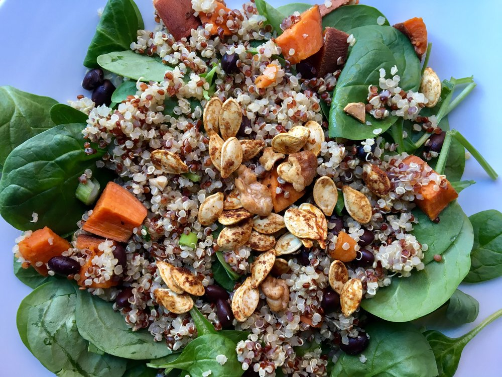 Spinach + Spiced Nut Salad / Grains + Roasted Roots