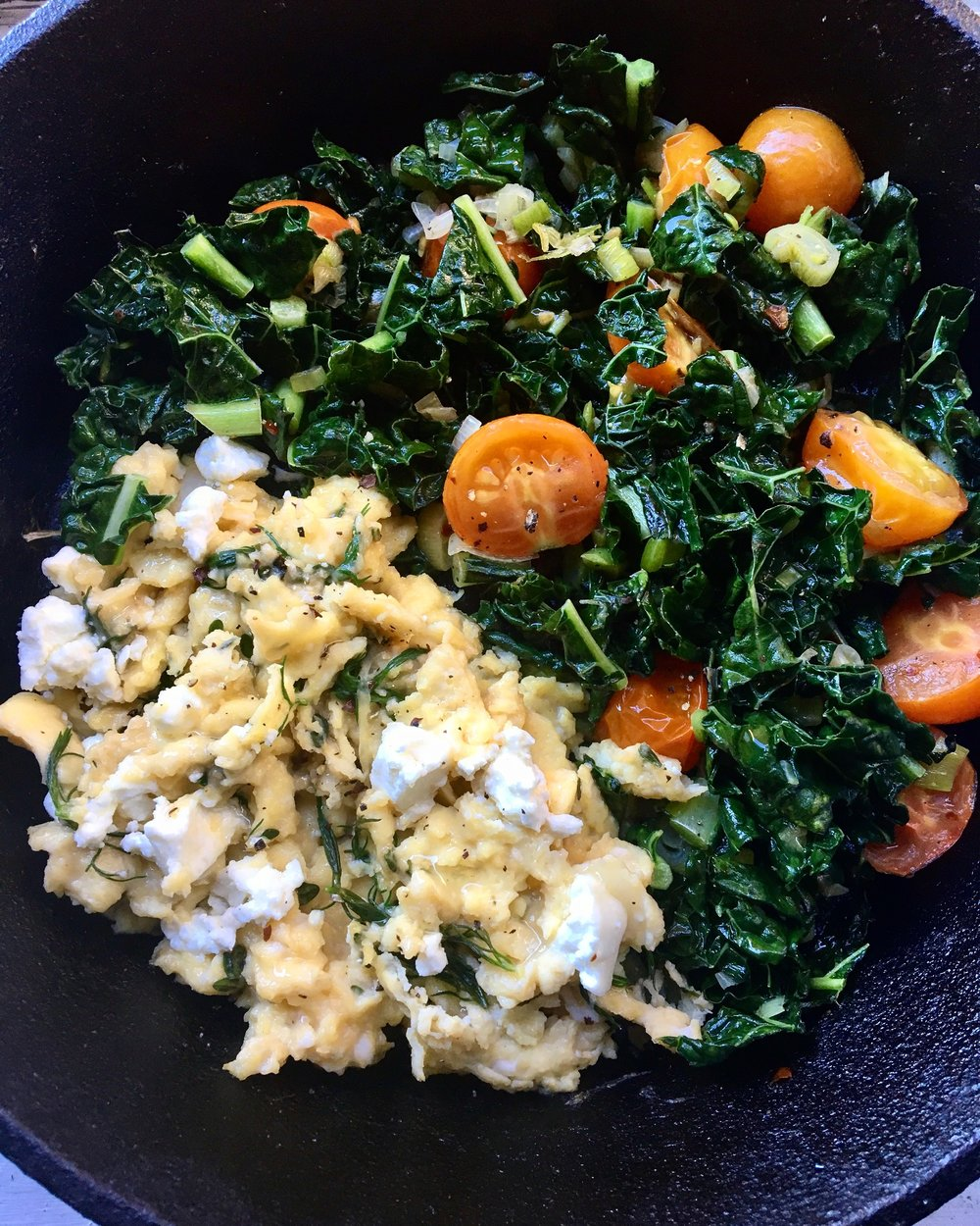 herbed eggs with mixed kale + collards