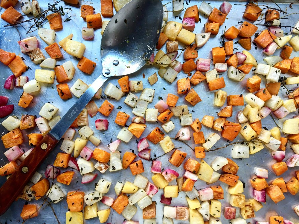 Roasted Roots / Turnip / Butternut Squash / Sweet Potato / Thyme