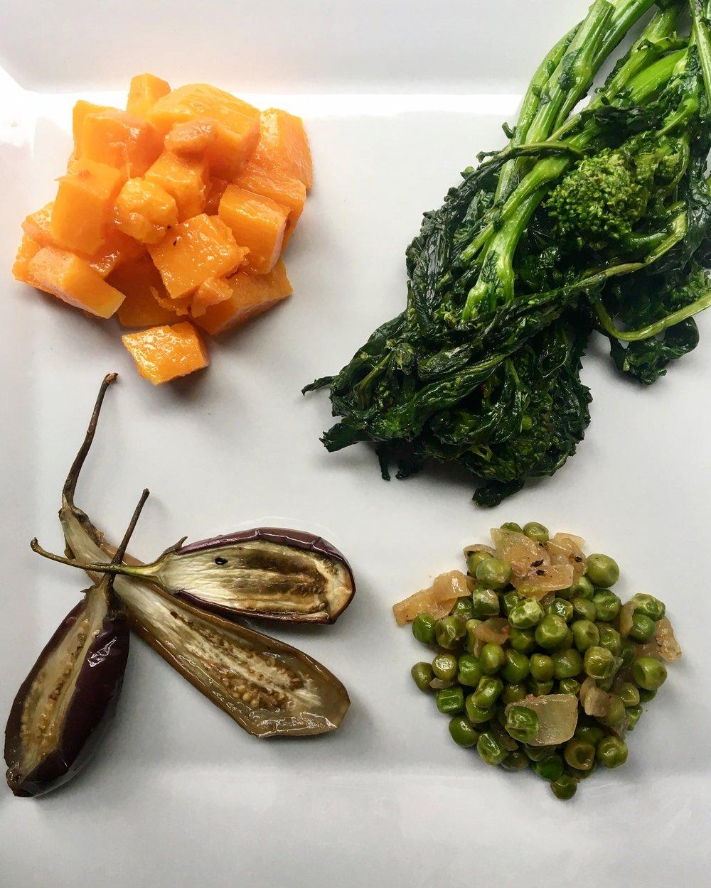 Vegetable Building Blocks: Pharsi Squash / Broccolirabe / Roasted Eggplant / Peas + Onions