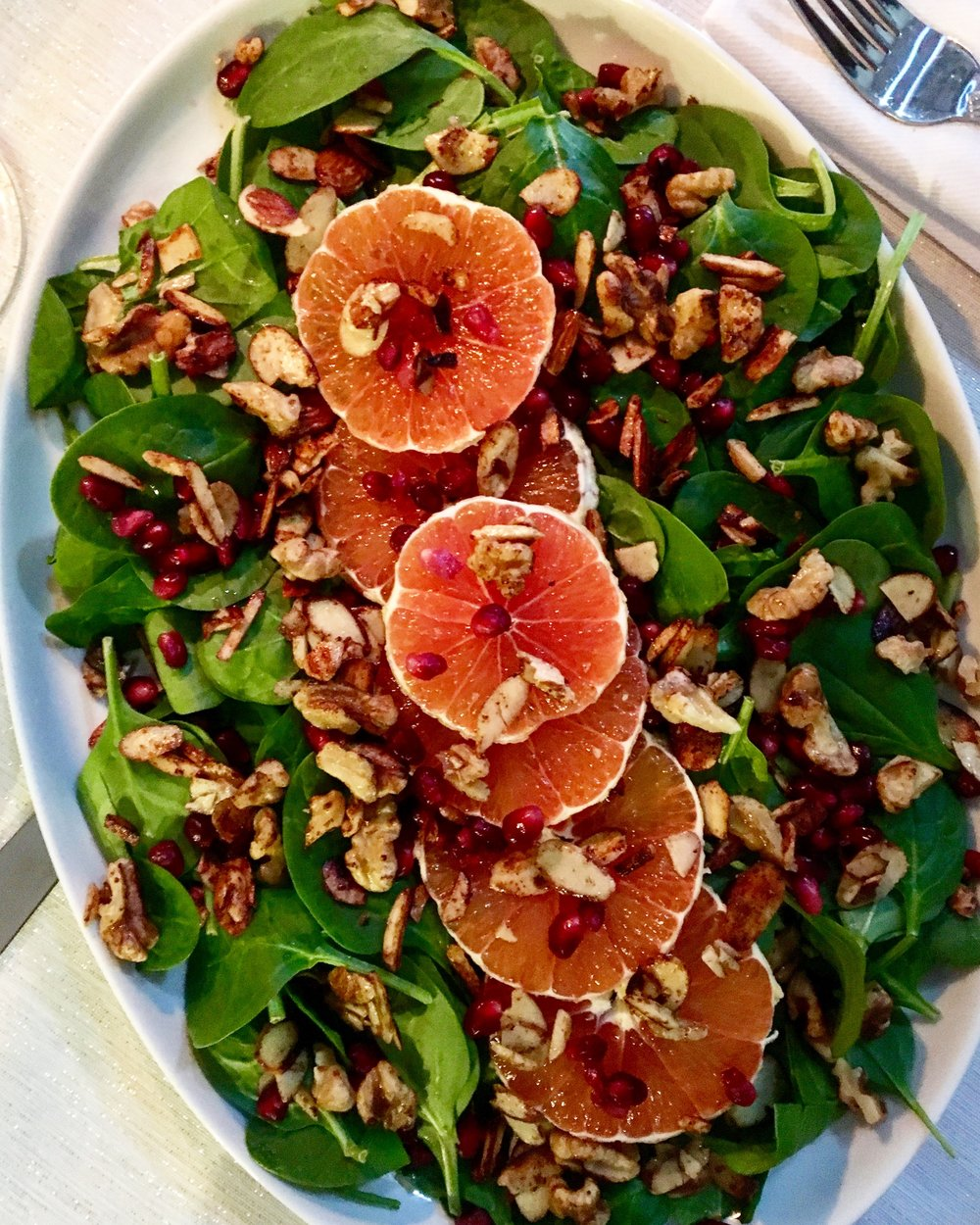 Spinach Salad: Cara Cara Oranges / Spiced Nuts / Pomegranate