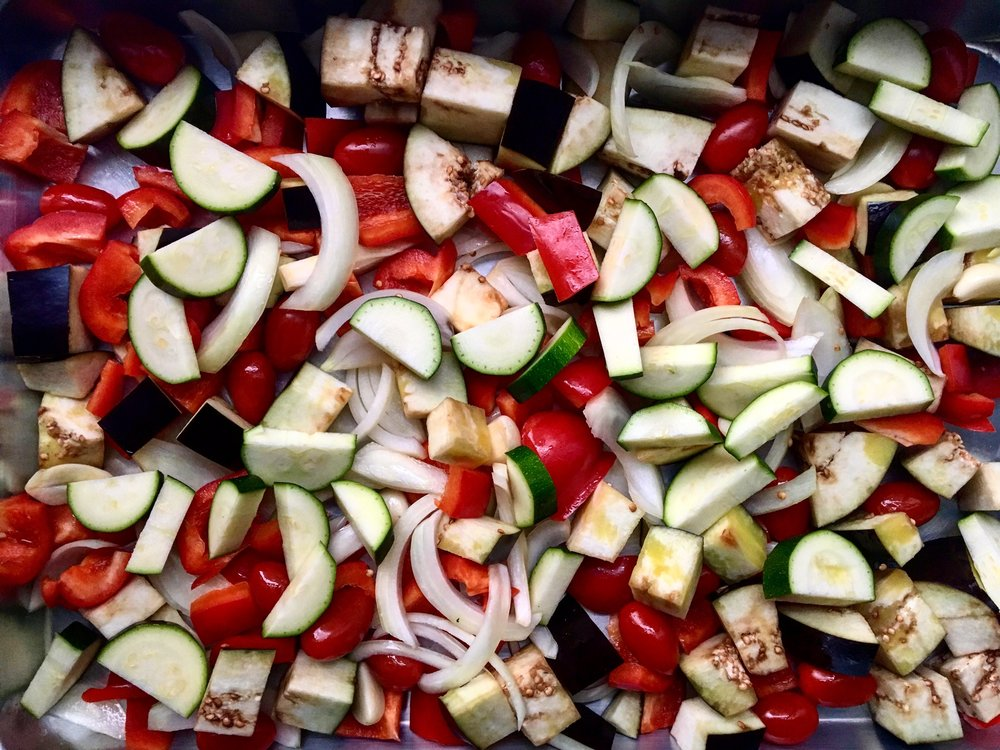 Roasted Vegetable Dip Prep