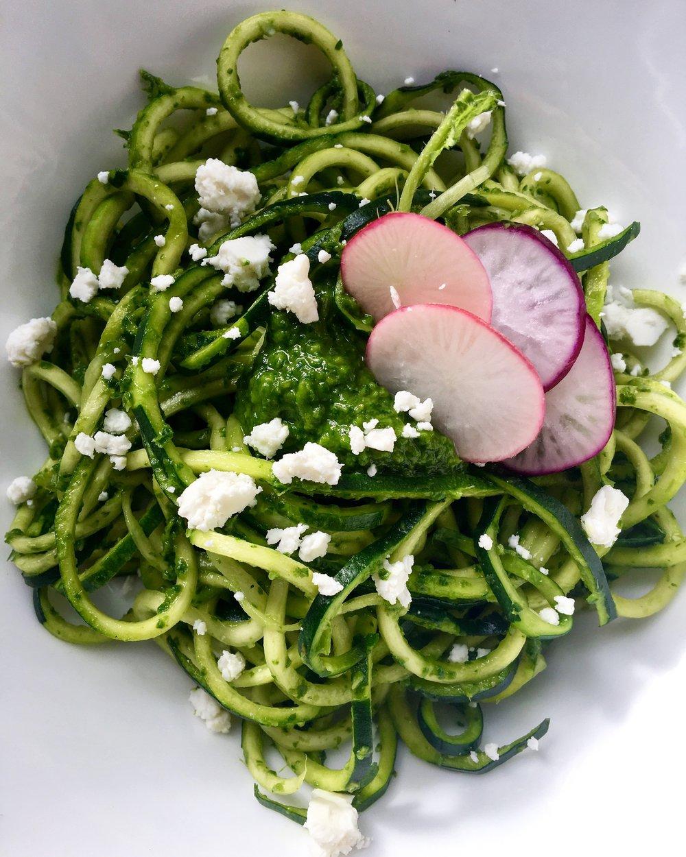 Zoodles with Radish Green Pesto + Bulgarian Feta
