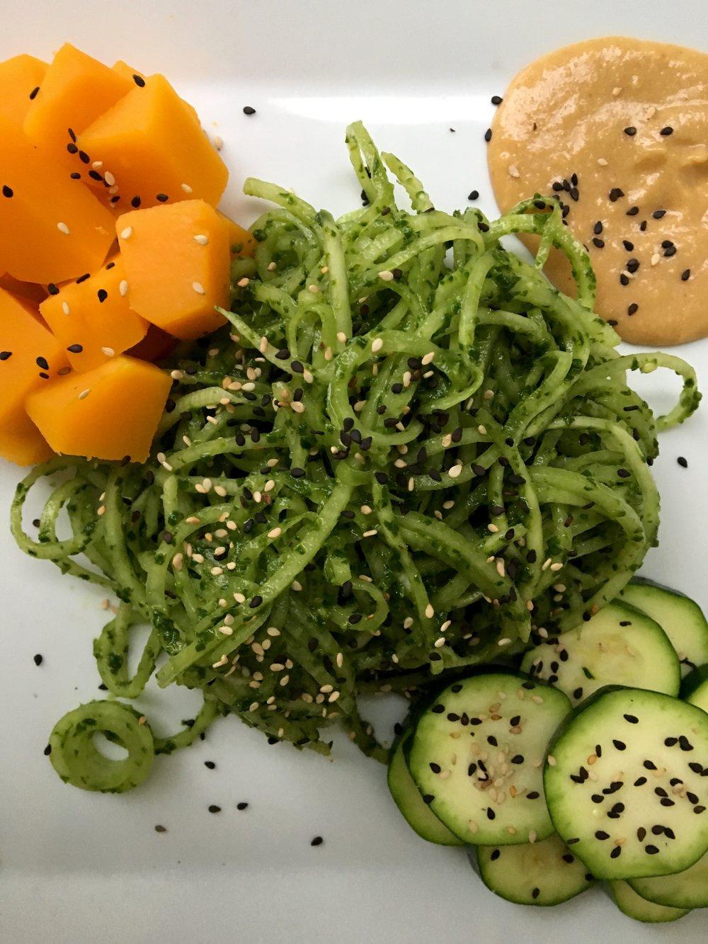 Daikon Noodles / Spinach Pesto