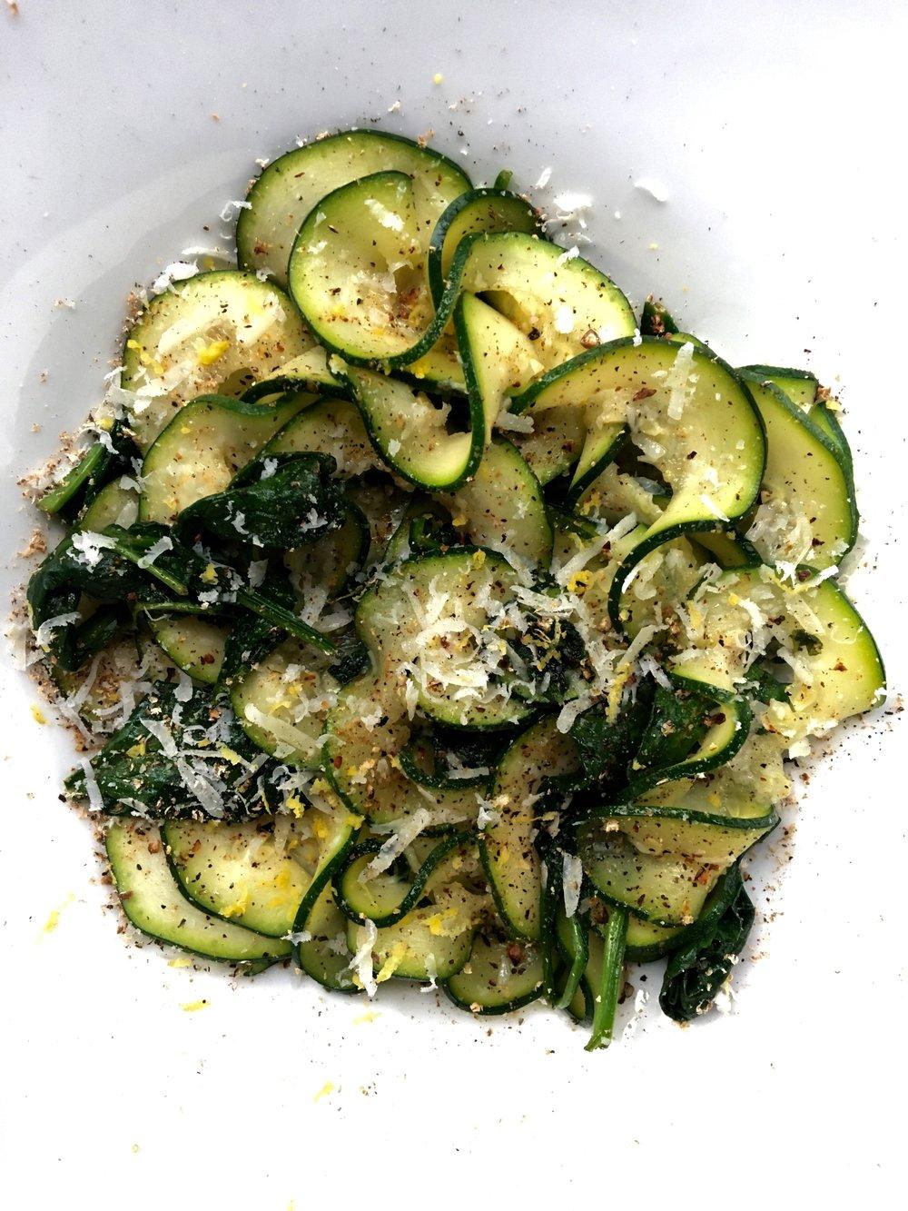 Zoodles (Bare): Lemon Zest / Nutmeg / Pecorino / Spinach / Butter