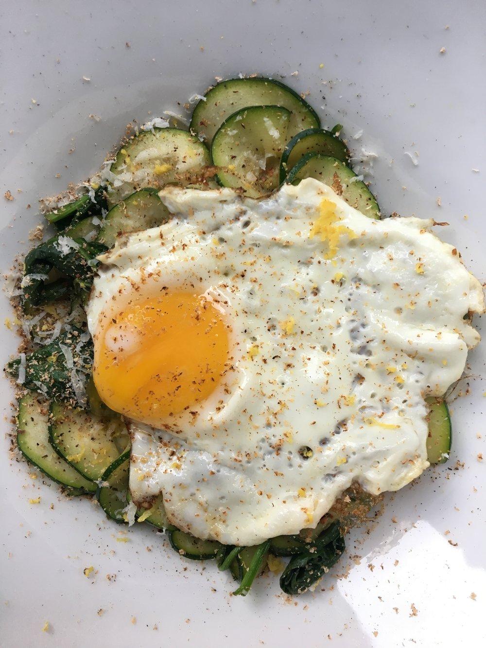 Zoodle + Egg: Lemon Zest / Nutmeg / Pecorino / Spinach / Butter