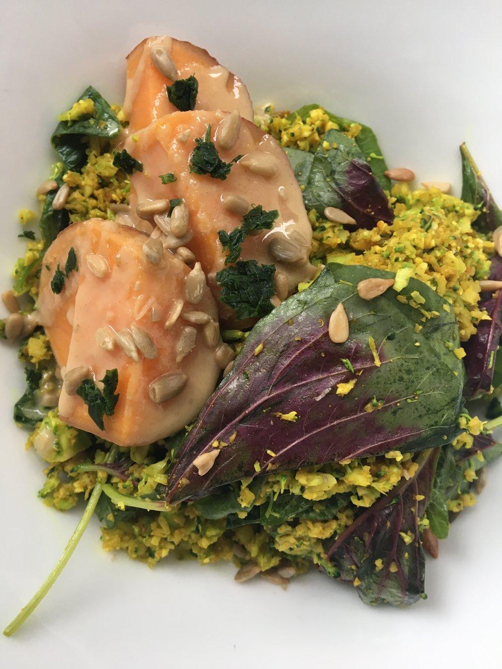 Mixed Broccoli + Cauliflower Rice w/ Purple Callaloo / Sweet Potato / Tahini + Turmeric