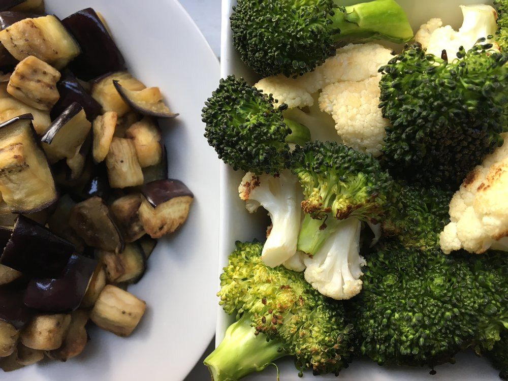 Roasted Eggplant / Broccoli / Cauliflower Building Blocks for Meal Prep
