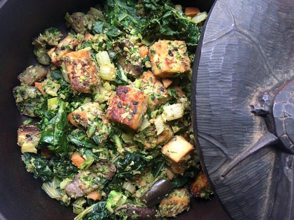 Baked Tofu Bowl #2: Broccoli rice base