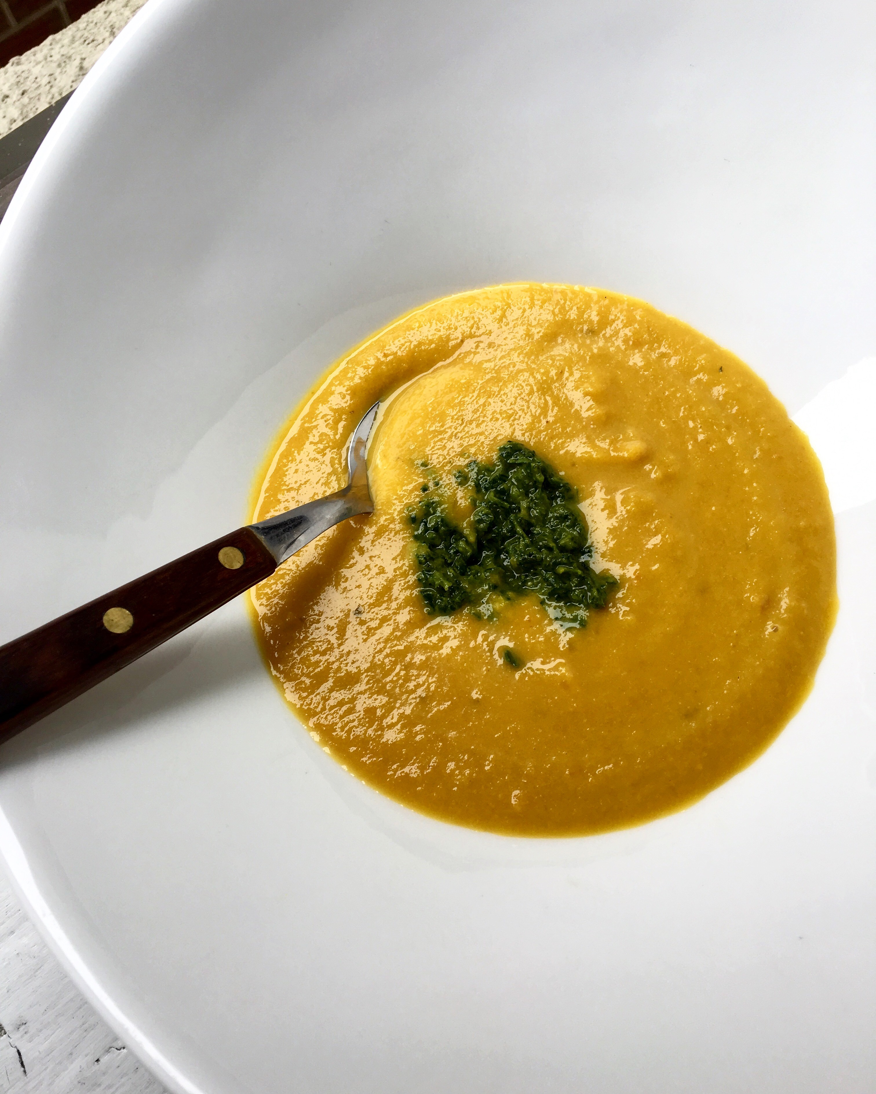 Spiced Carrot + Cauliflower Soup with Green Sauce