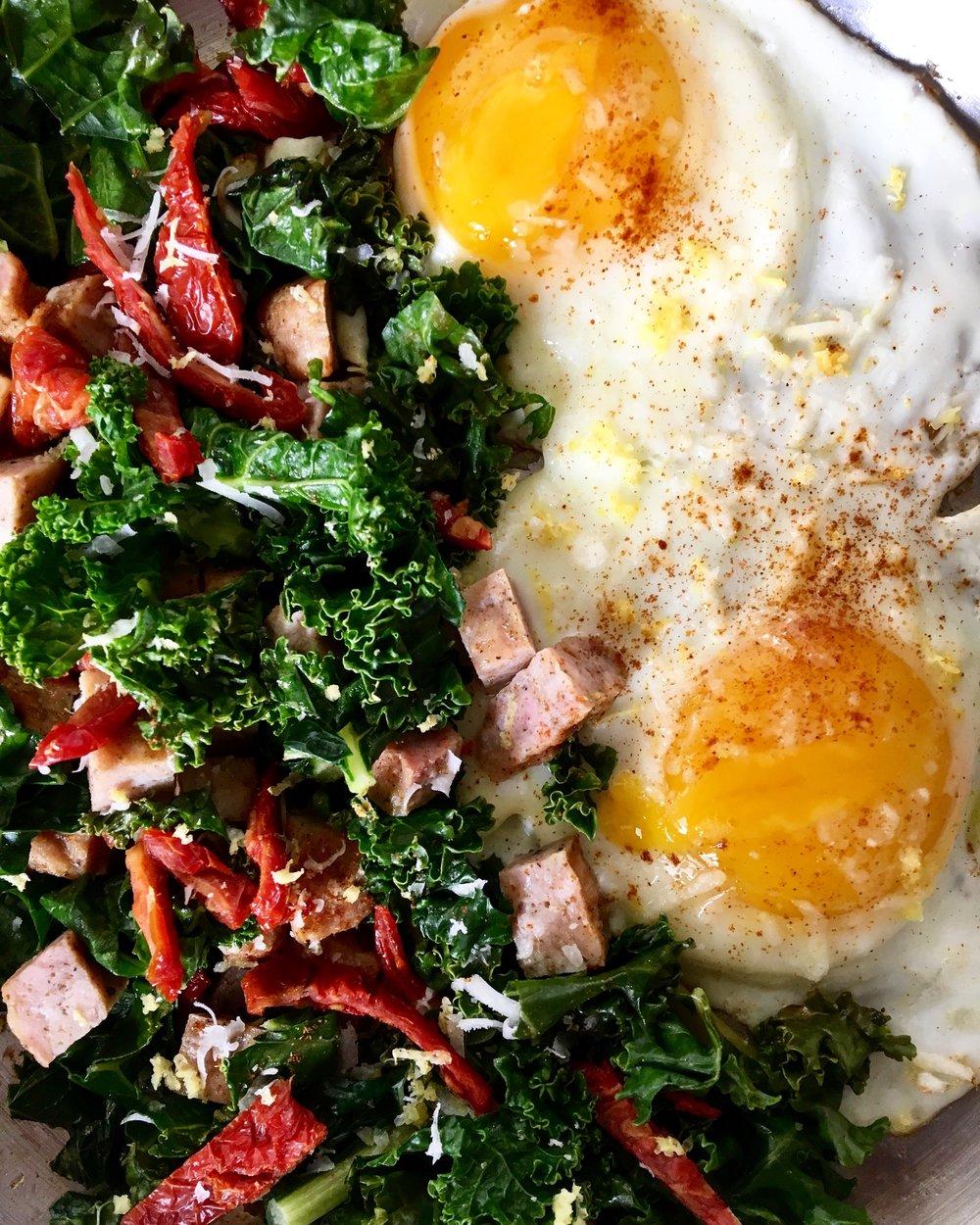 Sunnyside Up / Mixed Kale, Collard + Chard / Sun dried Tomato / Chicken Sausage
