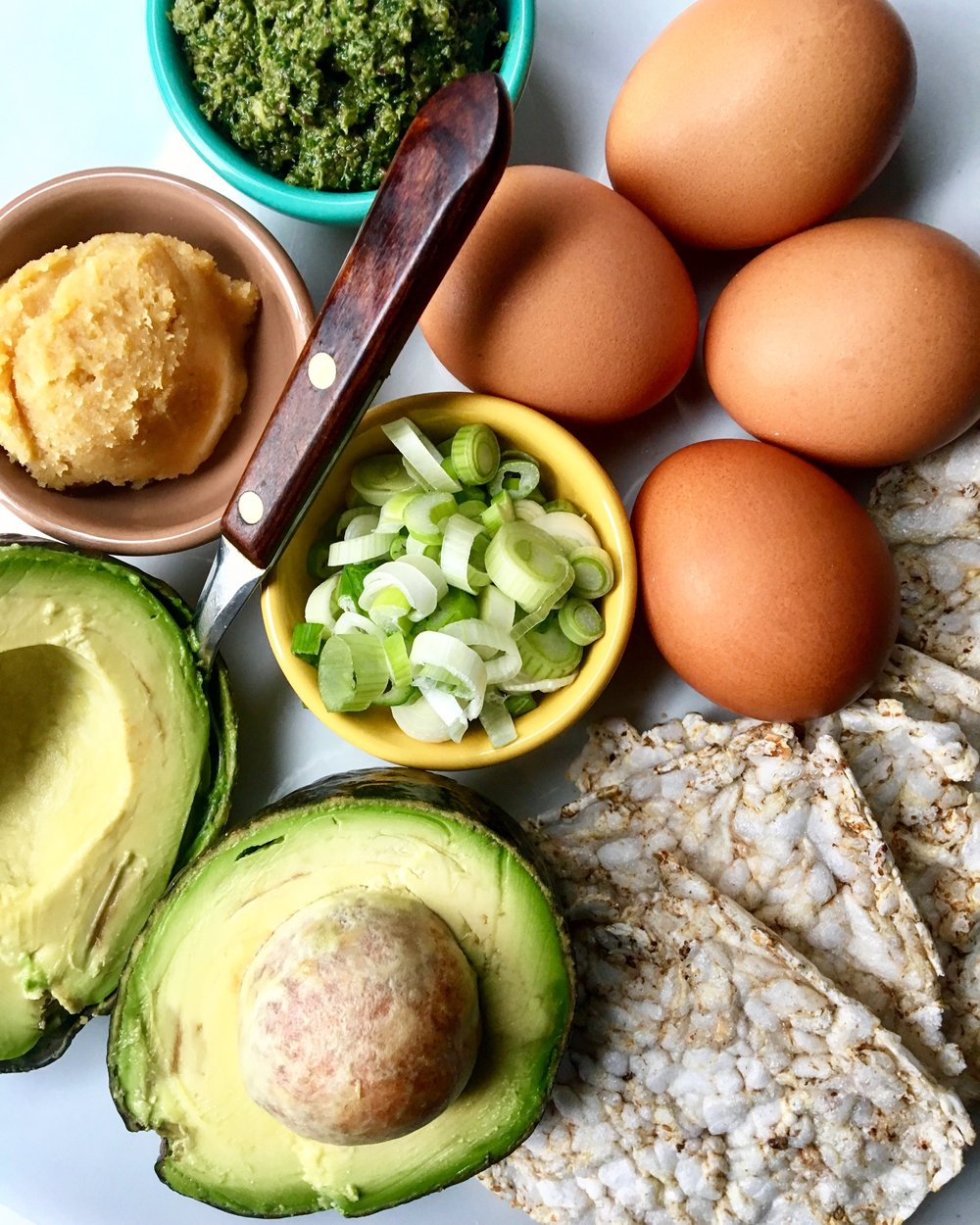 Brunch Prep: Poached Eggs Miso Guac Kale + Olive Tapenade
