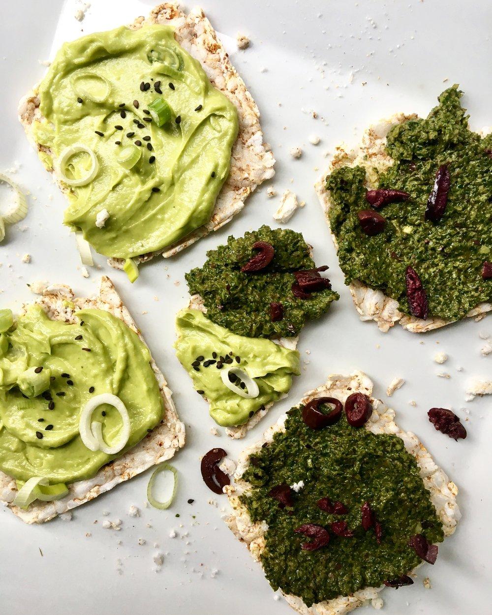Miso Guac + Kale/Olive Tapenade Crisps