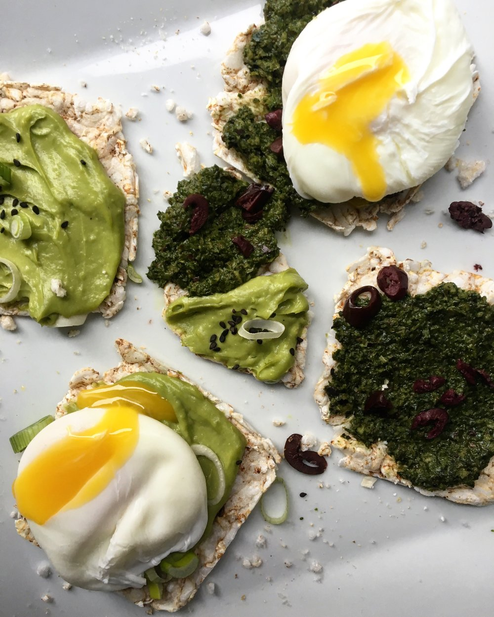Miso Guac + Kale/Olive Tapenade/ Poached Egg