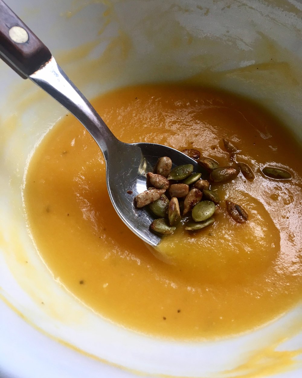 Butternut Squash Soup + Spiced Seeds
