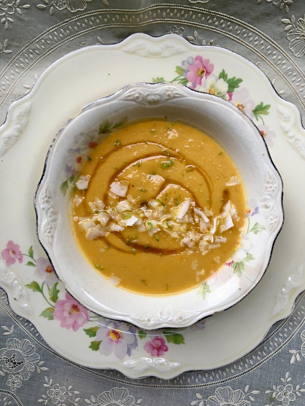 Coconut Sweet Potato + Carrot Soup